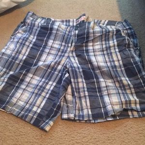 Blue and white plaid shorts